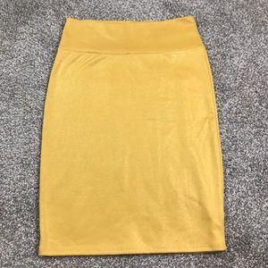 Lularoe gold shimmer stretchy pencil skirt, sz S
